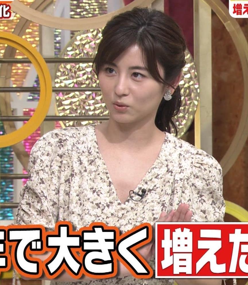 宇賀なつみアナ Vネック胸元エロキャプ・エロ画像4