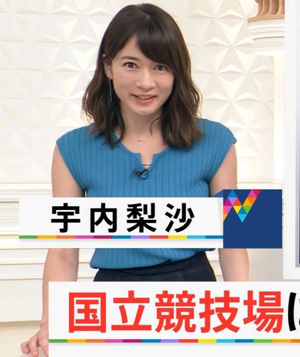 宇内梨沙アナ ニットおっぱいキャプ・エロ画像3
