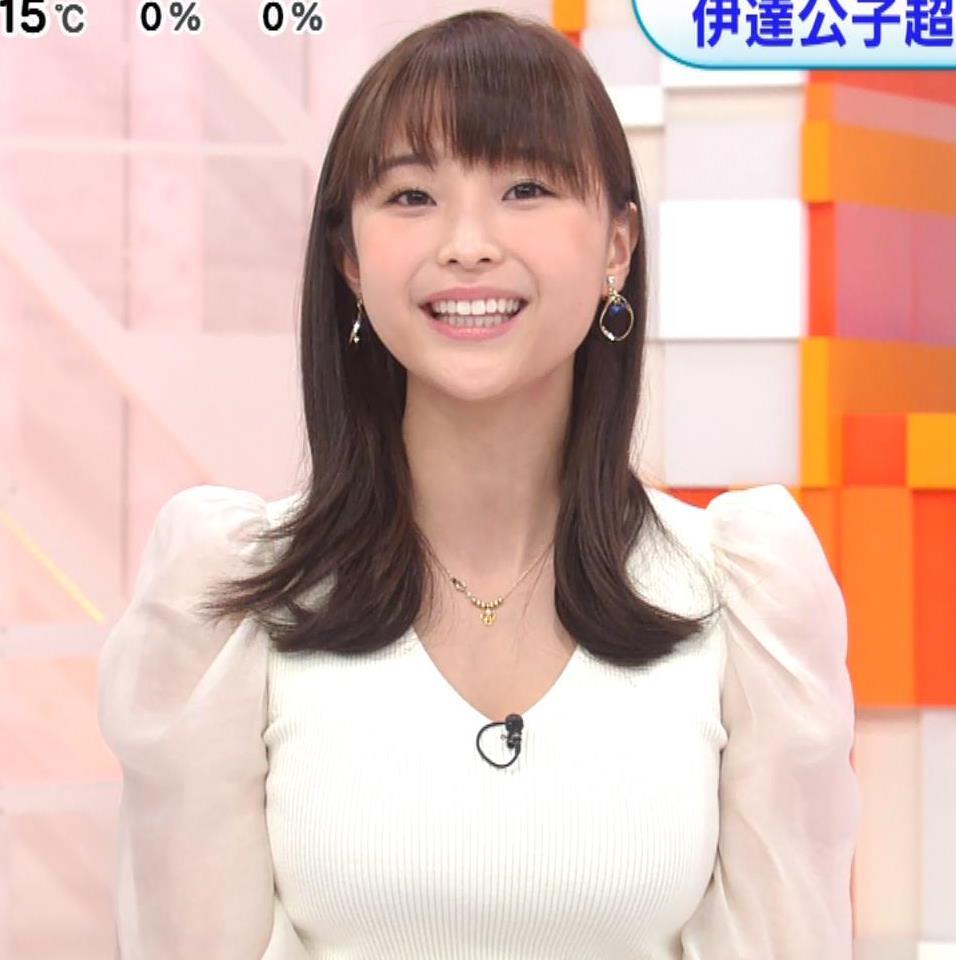 渡邊渚アナ Vネックニットで見えたエロい巨乳の胸元キャプ・エロ画像