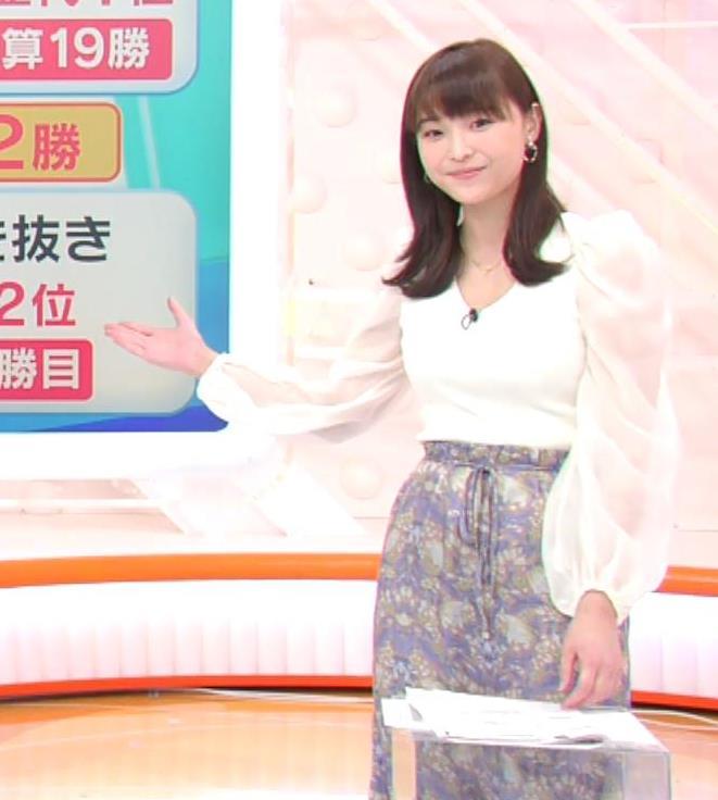 渡邊渚アナ Vネックニットで見えたエロい巨乳の胸元キャプ・エロ画像3