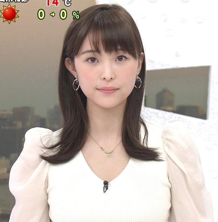 渡邊渚アナ Vネックニットで見えたエロい巨乳の胸元キャプ・エロ画像4