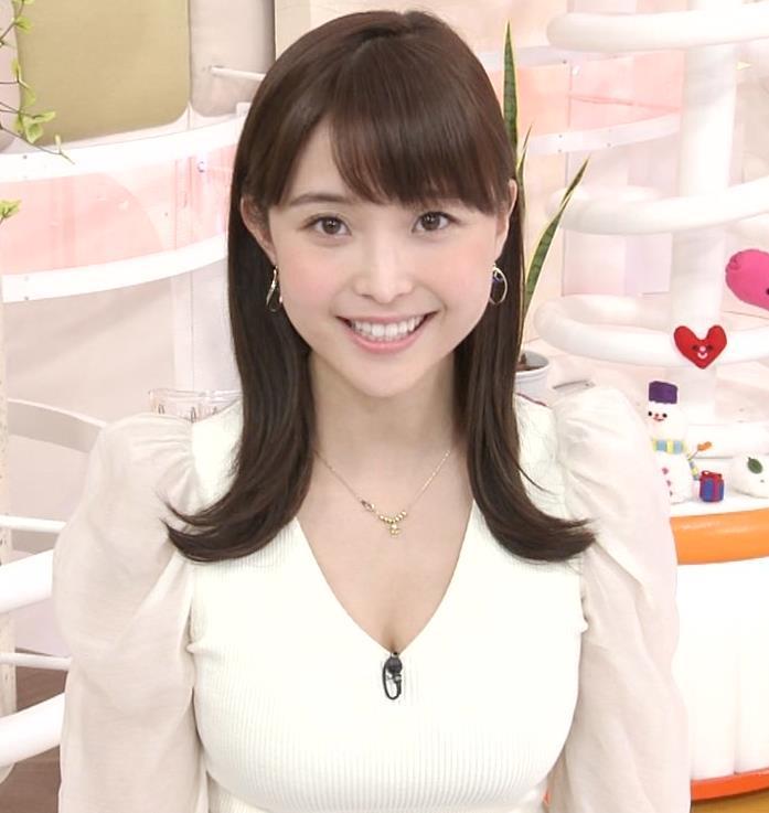 渡邊渚アナ Vネックニットで見えたエロい巨乳の胸元キャプ・エロ画像6