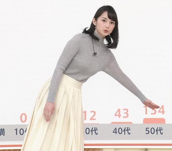 山本恵里伽 美人アナのエッチなニットおっぱいキャプ・エロ画像2