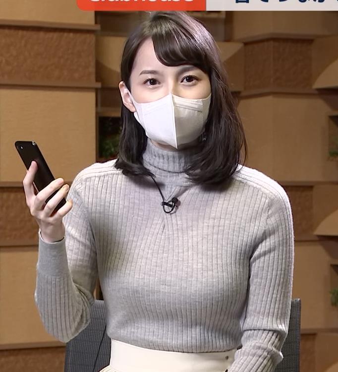 山本恵里伽 美人アナのエッチなニットおっぱいキャプ・エロ画像4