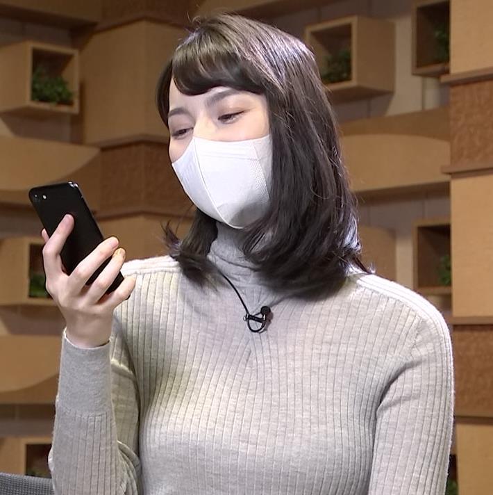 山本恵里伽 美人アナのエッチなニットおっぱいキャプ・エロ画像5