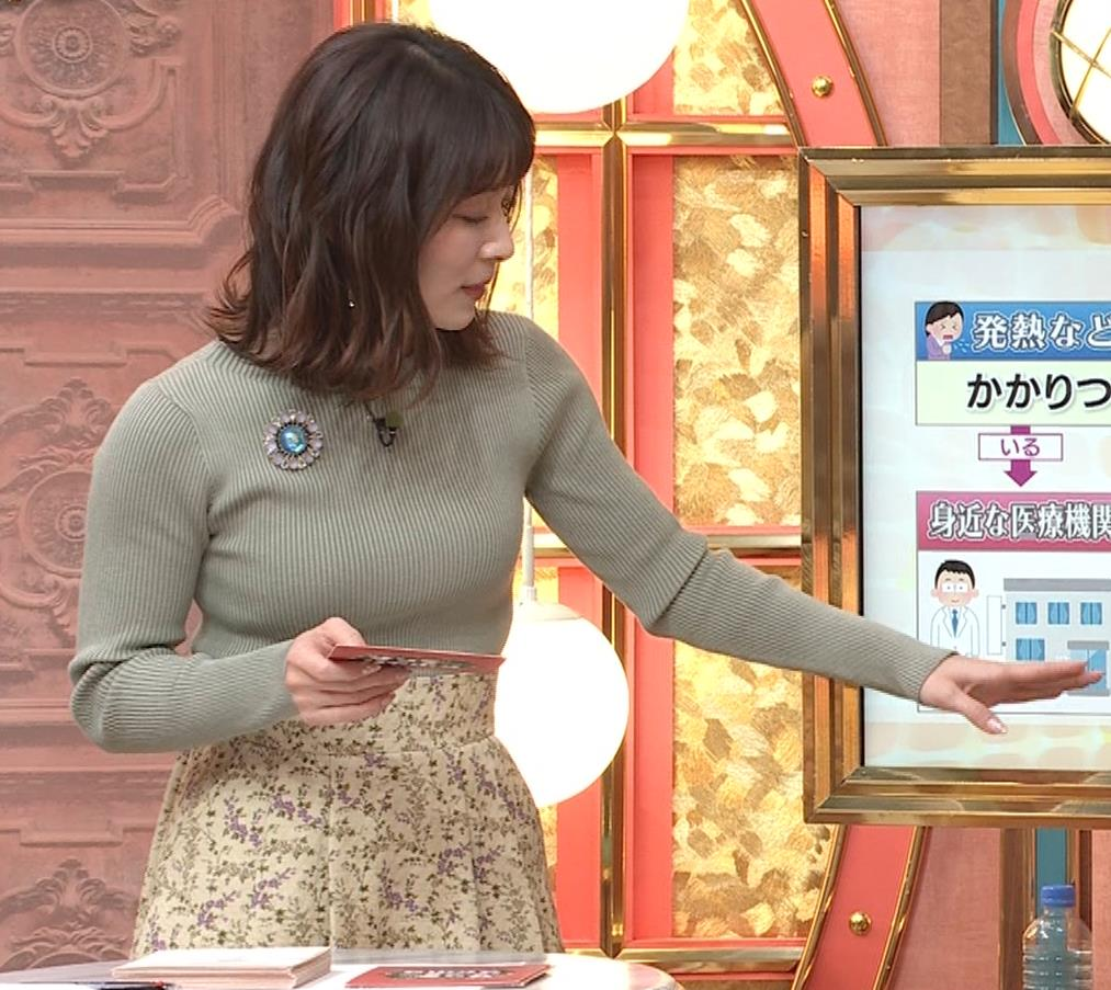 山本里菜アナ ニットで巨乳がクッキリキャプ・エロ画像4
