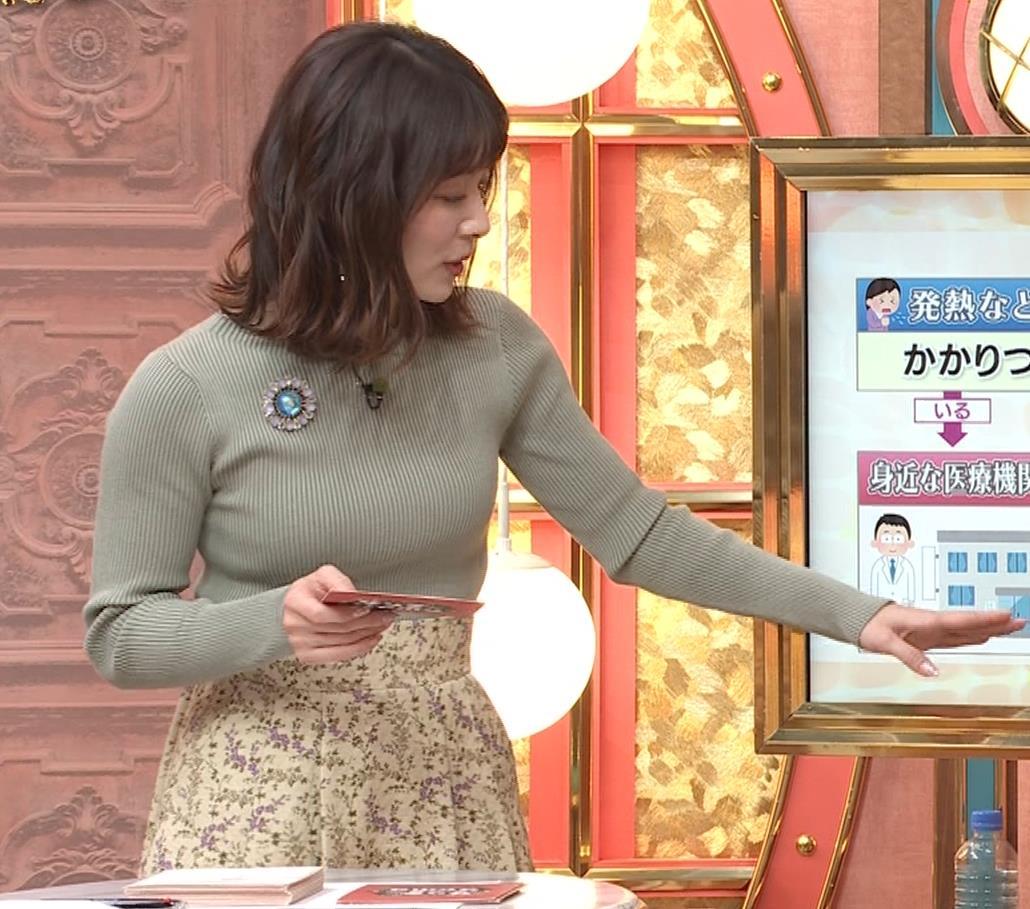 山本里菜アナ ニットで巨乳がクッキリキャプ・エロ画像5